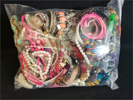 Lot Of Mixed Quick Sorted Costume Jewelry. 10 Lbs. 1.9 oz. W/ Bag