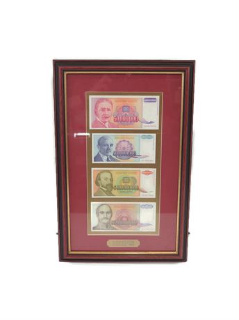 Hyperinflation Yugoslavia 1993 Banknote Currency Framed (670)