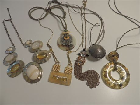 All Things Yellow/Brown Jewelry Lot With Necklaces