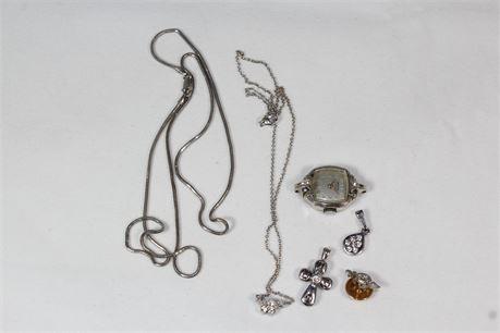 Vintage 14k White Gold Jewelry Set 17.50 Grams