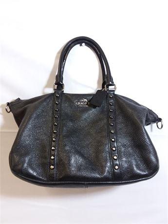 Coach Central W/ Enamel Studs Black Leather Purse 15X9X5