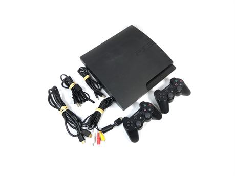 Sony PlayStation 3 PS3 Slim CECH-3001A 160GB Console w/Two Controllers