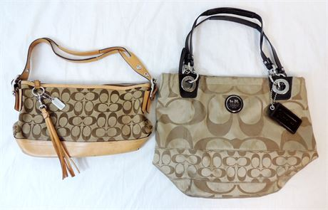 Two Coach Signature Bags - Need TLC - Sateen Tote & Monogram (579)