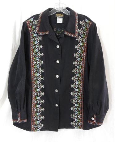 Bob Mackie Wearable Art Women's Size 1X Southwestern Shirt L/S (579)