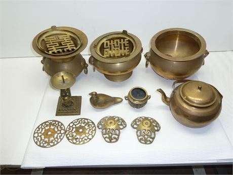 Lot Of Larger Brass Ceremonial Pieces