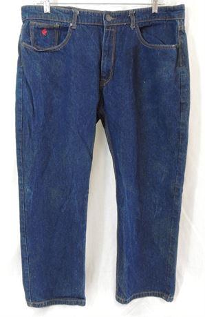 Rocawear Men's Jeans 38 x 30 Dark Wash, Orange Stitching