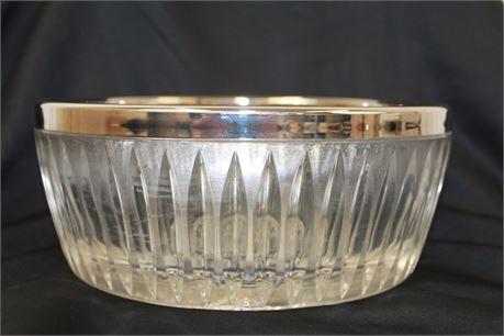 Vintage LEONARD Crystal W/ Silver Plated Rim Bowl