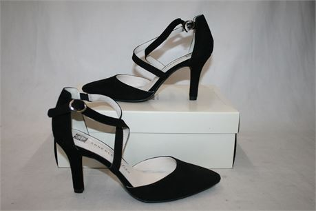 Anne Klein Fion Black Suede Heels, Size 6.5
