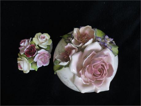 Vintage Vee Jackson Porcelain Powder Holder and Royale Stratford Rose Bouquet