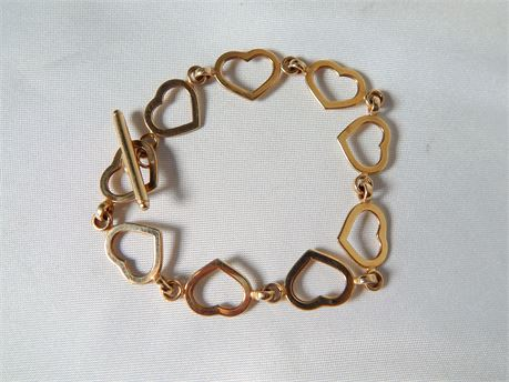 14 K Gold Heart Link Bracelet 4.8 grams (270SA/H)