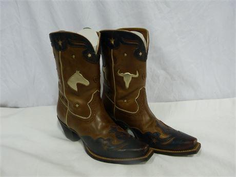 Ariat Cork Rebel/Lunar Blue Do Si Do Women's Cowboy Boots Size 7.5B