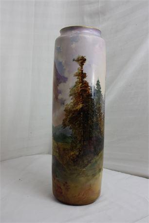 """18"""" Tresseman & Vogt Limoges France Gold Leafed Vase"""