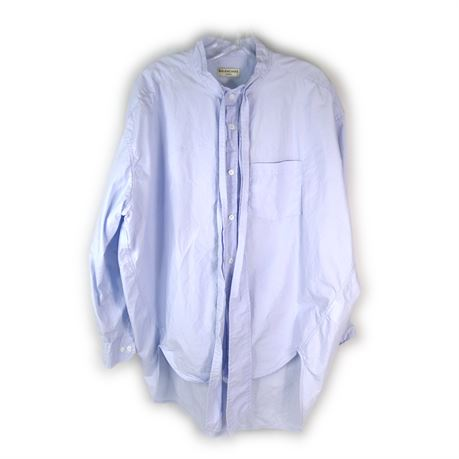 Balenciaga Lace Tie Oversized Logo Shirt Size 40, Blue
