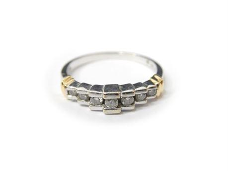 14K White Gold Women's Ring, Size 7, 2.5 Grams, w/7 Diamonds -Tested