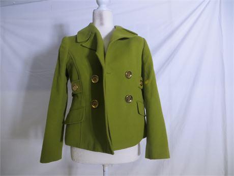 Michael Kors Women's Green Pea Coat, S/P