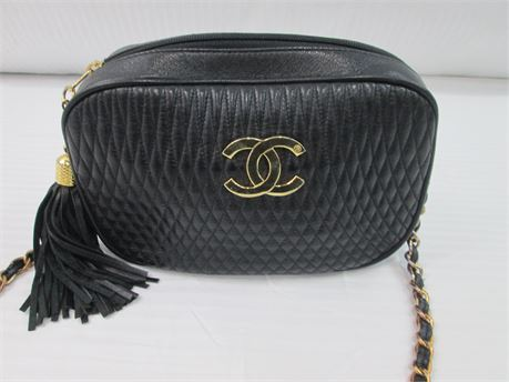 Womens Black Purse with Chain Strap