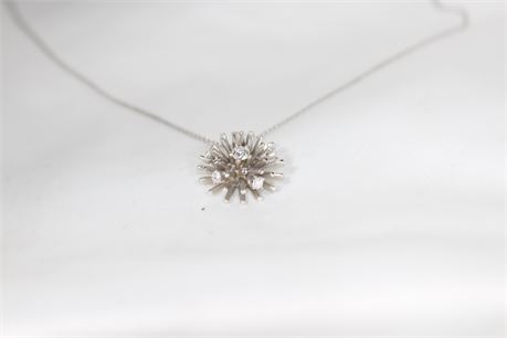 """14k White Gold Necklace with Floral Pendant W/ Diamonds, Length 15"""", 4.10 Grams"""