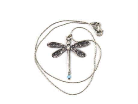 """Isreal 925 Sterling Silver Dragonfly Pendant 18"""" Necklace - 7.18g"""
