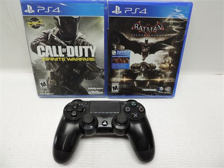 PlayStation 4 Controller (USED) And 2 Brand New Games Call Of Duty & Batman!!!