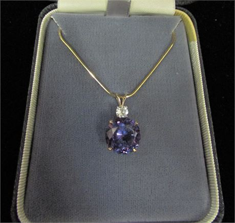 14kt Gold Diamond and Amethyst Pendant Necklace
