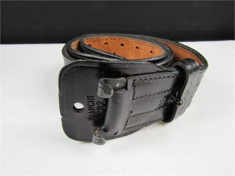 "Black Braded Leather Tactical Service Belt By Binaci B2 size 40""  (650)"