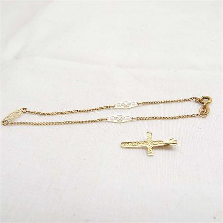 14kt Gold Bracelet & Small Pendant Cross 1.6 Grams