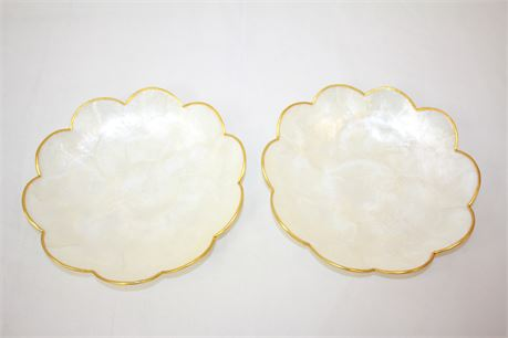 """2 Handmade Mother Of Pearl Plates 8"""""""
