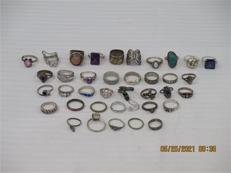 Lot of 925 Sterling Silver Rings - 165g (670)