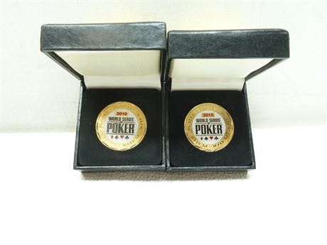 2- Player Buttons; 2010 World Series Of Poker, Vegas, In Boxes