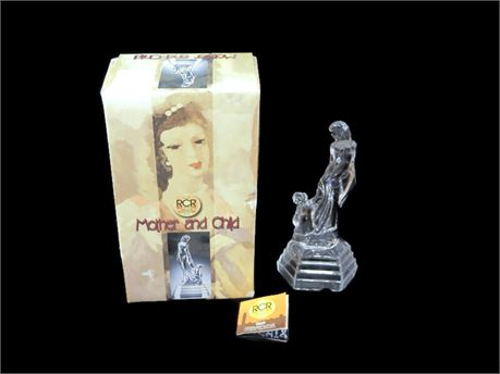 Vintage RCR Royal Crystal Rock Italian Made Mother & Child Crystal Figurine