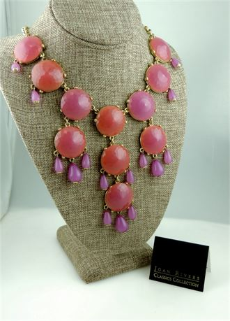 Joan Rivers Classics Collection Colorful Play Bib Necklace - Orchid - IOB (579-J