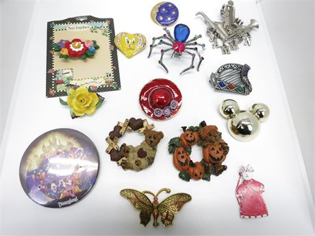 Lot of 14 Vintage Brooches/Pins