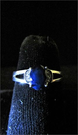 925 Silver 1/2 Carat Untreated Sapphire And CZ Ring