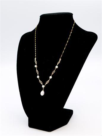 """Vintage 10K Gold & Pearl Necklace 17"""" (579)"""