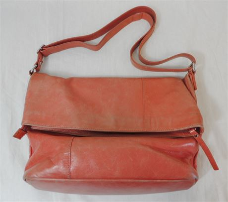 Garnet Hill Peach Leather Fold-Over Tote Made in Italy (579)