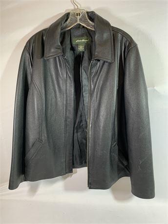 Eddie Bauer Men's Black Leather Coat Size XL