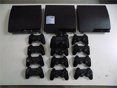 Sony Playstation 3 Console Lot; 3 Consoles + 12 Controllers; Tested!