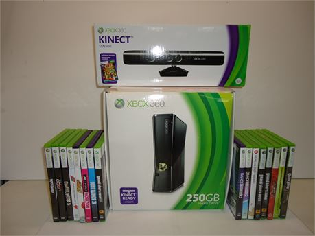 Lot Of X-Box 360, 1 Console,1 Conroller,Headphones,Kinect And 16 Games Pre-Owned