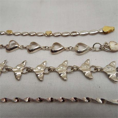 """4 Sterling Silver Bracelets 7"""" Whales Tail & Hearts 22.7 Grams"""