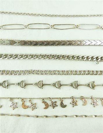 8Pc Mixed Lot 925 Sterling Silver Bracelets 62.12 Grams (579-J)