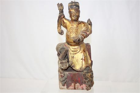 """Antique Vintage Hand Carved Wood Chinese Statue 12"""""""