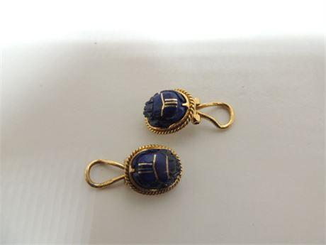 18kt Blue Scarab Earrings Marked VI Weigh 10.7 Grams