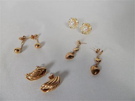 14K Gold Post Earrings 4 Pair 5.0 grams (270SA/PE)