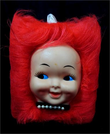 Vintage Kitsch Doll Mask Face RED HAIR Tissue Box Cover Dispenser