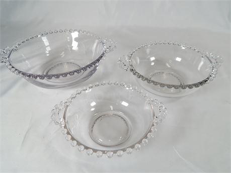 Candlewick Glass 3 Piece Bowl Set  (270r3s2)