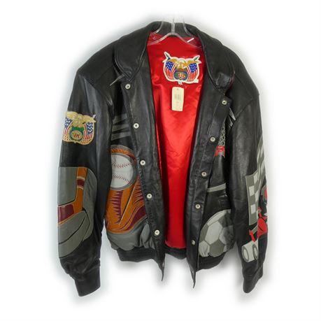 Vintage Jeff Hamilton Limited Edition Signed ESPN Leather Jacket Mens Sz M  NWT 