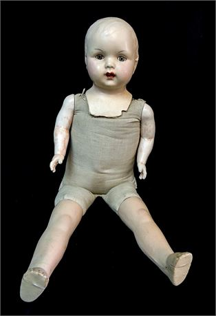 """Vintage 25"""" Composition/Cloth Mama Doll Open Mouth & Teeth - Unsigned - FPOR"""