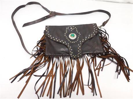 Beautiful Leather Native American Crossbody Bag