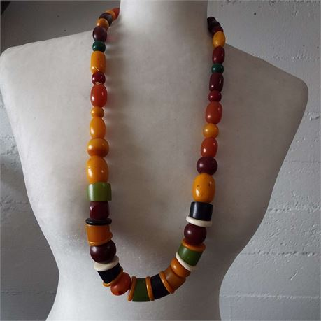 Handmade Twisted Rope Large Bead Necklace
