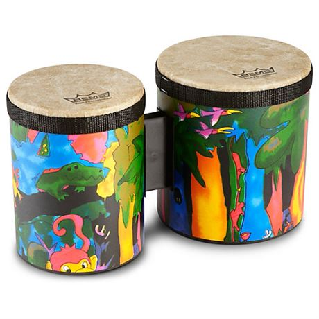Remo Kids Percussion Bongos Rain Forest Finish  NEW SEALED! 